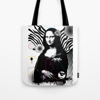 mona lisa Tote Bags featuring mona lisa by MiSHiO DESIGN