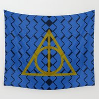 deathly hallows Wall Tapestries featuring The Deathly Hallows Ravenclaw by cinefuck