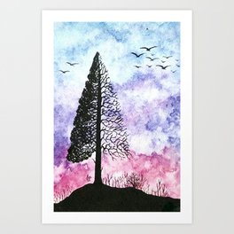 Silhouette of pine tree Art Print