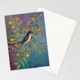 Flycatcher with Carolina Jasmine, Vintage Natural History and Botanical Stationery Cards