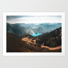 Mountains and lake Art Print