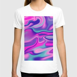 Liquid Bold Vibrant Colorful Abstract Paint in Blue, Pink and Purple T-shirt