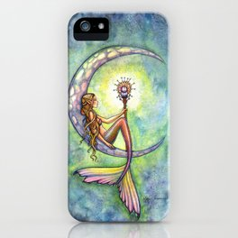 Mermaid Moon Watercolor Fantasy Art by Molly Harrison iPhone Case