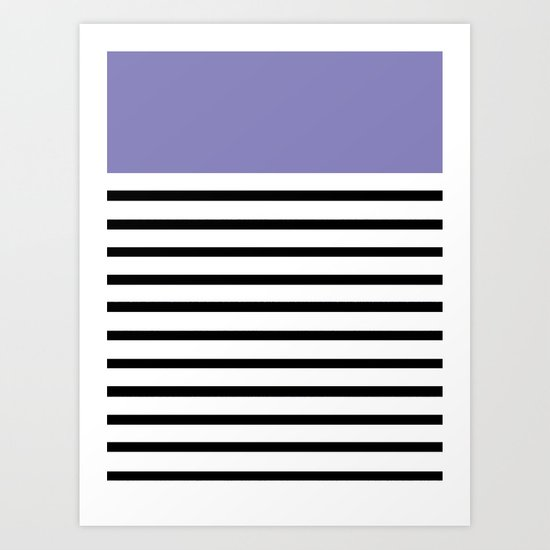 Pinstripe Color Block (Purple) Art Print
