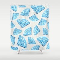 diamond Shower Curtains featuring diamond by Ceren Aksu Dikenci