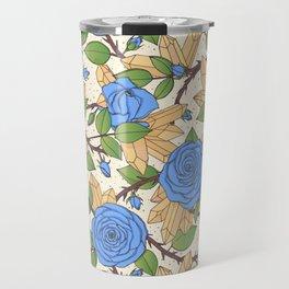 Blue Roses and Crystals Pattern Travel Mug