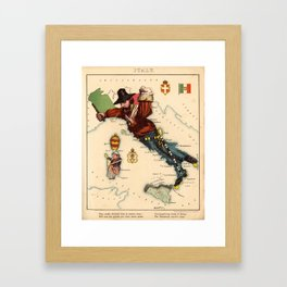 Vintage Illustrative Map of Italy (1869) Framed Art Print