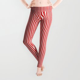 Thin Berry Red and White Rustic Vertical Sailor Stripes Leggings