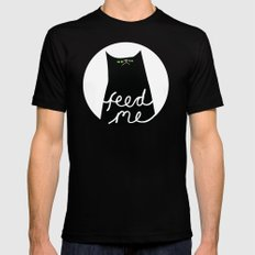 feed me MEDIUM Mens Fitted Tee Black