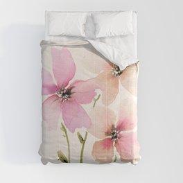 Light Peach, pink watercolor flowers Comforters