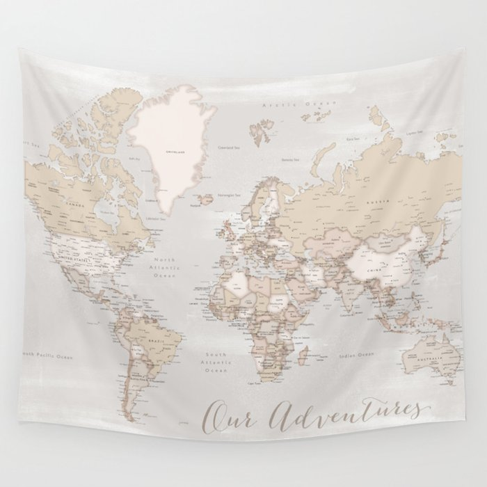 Our adventures, rustic detailed world map Wall Tapestry by ... on