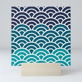 Japanese Seigaiha Wave - Blue gradient Mini Art Print