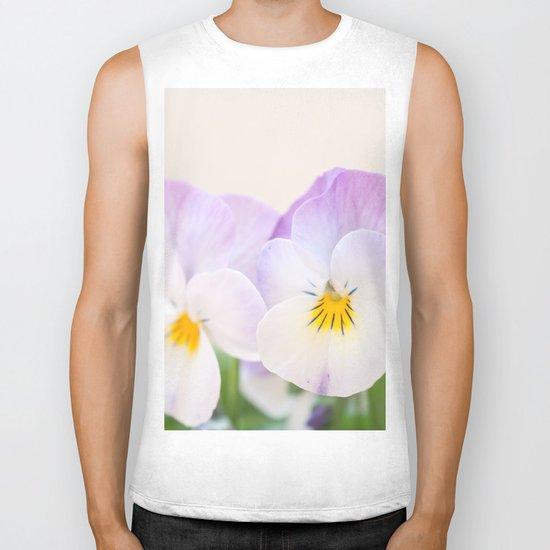 Spring Love #1 - Soft violet-white Pansies #decor #art #society6 Biker Tank