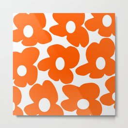 Orange Retro Flowers White Background #decor #society6 #buyart Metal Print