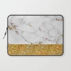 Luxury and glamorous gold glitter and marble Laptop Sleeve