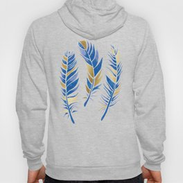 Watercolour Feathers - Navy and Gold Hoody