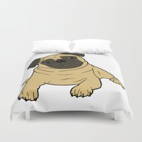 pug Duvet Covers featuring PUG by Elena O'Neill
