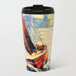 Yacht in the wind Travel Mug