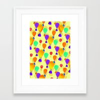 hot air balloons Framed Art Prints featuring Hot Air Balloons (Yellow) by Ingrid Castile