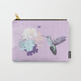 Lavender hummingbird and flower watercolor Carry-All Pouch