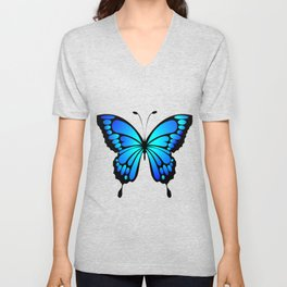 Vivid and colorful blue butterfly Unisex V-Neck
