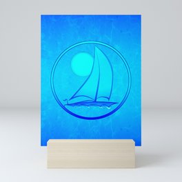 Ocean Blue Sailboat Mini Art Print