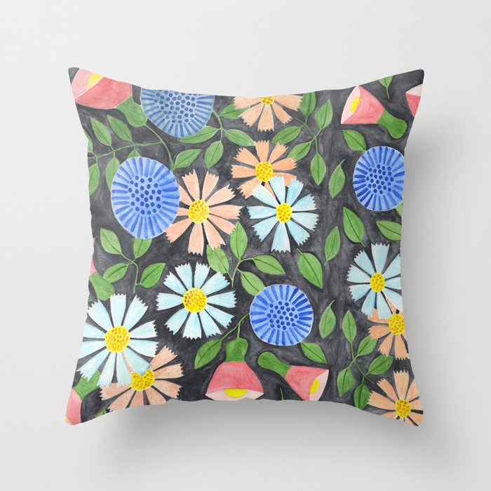 Floral Pattern on Black Throw Pillow