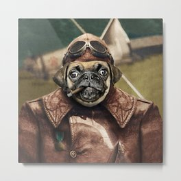 Pete the Pilot Pug Metal Print