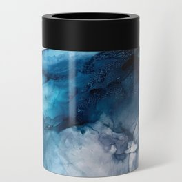White Sand Blue Sea - Alcohol Ink Painting Can Cooler