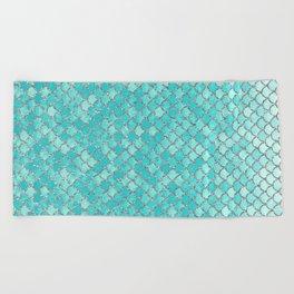 Teal Mermaid Scales Beach Towel