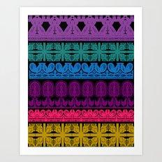 folk cutouts pattern Art Print