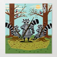 Raccoons Playing Bassoons Canvas Print