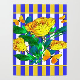 YELLOW SPRING ROSES & BUTTERFLIES WITH LILAC STRIPES Poster