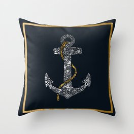 Anchor in Gold and Silver Throw Pillow