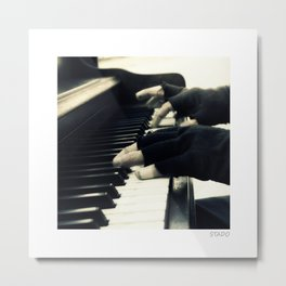 Street Hands on the Piano Metal Print