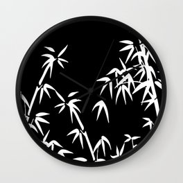 Bamboo Leaves White - black background Wall Clock