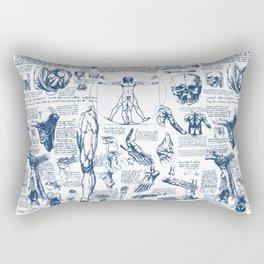 Da Vinci's Anatomy Sketchbook // Dark Blue Rectangular Pillow