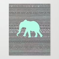mint Canvas Prints featuring Mint Elephant  by Sunkissed Laughter