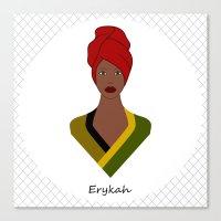 erykah badu Canvas Prints featuring Erykah by ravynka