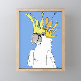 Yellow Crested Cockatoo in blue Framed Mini Art Print