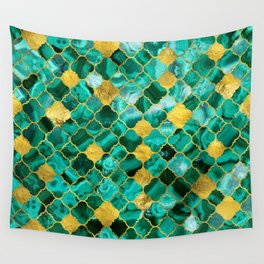 Quatrefoil Moroccan Pattern Green Malachite and gold Wall Tapestry