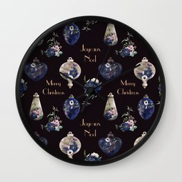 Elegant floral ornaments of champagne and navy blue Wall Clock