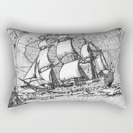 ship on a background map .  keep moving forward ( https://society6.com/vickonskey/collection ) Rectangular Pillow