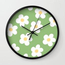 Retro 60's Flower Power Print 2 Wall Clock