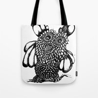 the who Tote Bags featuring Who? by Yeshead