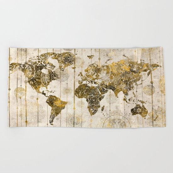 world map mandala sepia 1 Beach Towel