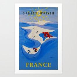 Vintage Winter Sports in France Travel Art Print