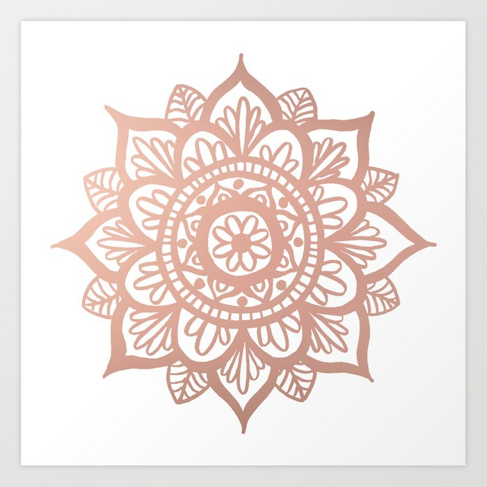 New Rose Gold Mandala Art Print By Julieerindesigns Society6