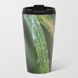 Raindrops on blades of grass Travel Mug