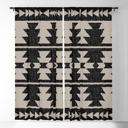 Southwestern Pattern 129 Black and Linen Blackout Curtain